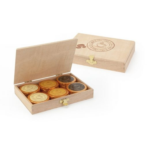 Čokoládový medailón s kávou Espresso, Cappuccino alebo s Karamelovou kávou, v drevenej ozdobnej krabičke  8gx12ks 96g