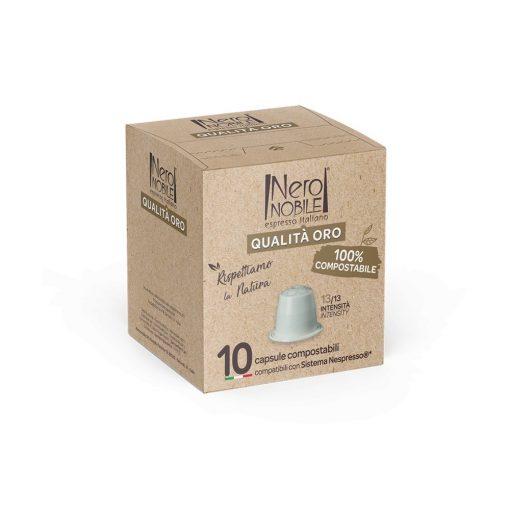 Kompostovateľné kávové kapsule Qualita Oro kompatibilné s Nespresso 10 ks