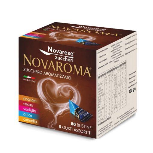 Ochutený cukor do kávy Novaroma 5 g x 80 ks - 5 príchutí (škorica, kakao, vanilka, aníz, oriešky) 400 g